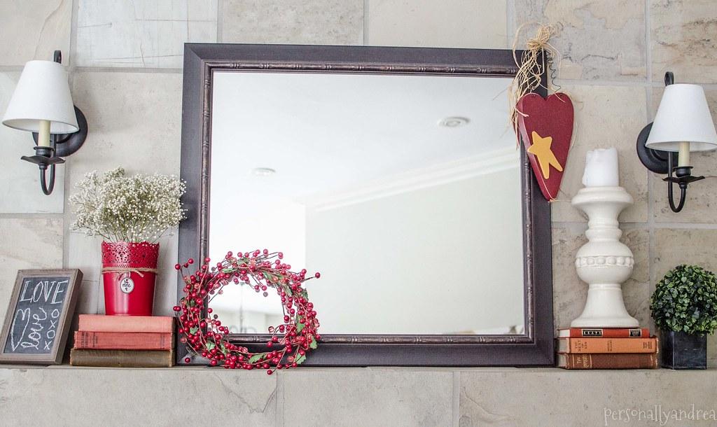 Valentine's Mantel | personallyandrea.com