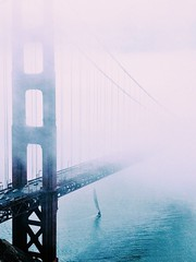 Golden Gate Bridge lost in the fog ~ Charlie Watch photo by . ADRIEN .