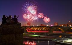 4th of july fireworks over downtown minneapolis minnesota photo by Dan Anderson.