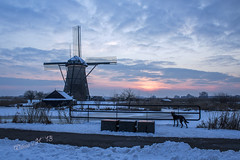 Snow-covered Kinderdijk at sunset - Newly Edited version photo by Wilma v H - thanks dear friends lovely feedback on