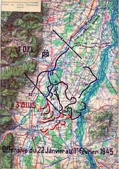 1945 - Alsace - carte offensive 22 janvier 1 fevrier 1945 epopée