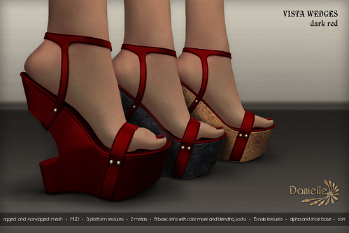 DANIELLE Vista Wedges Dark Red