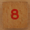 Wooden Cube Red Number 8