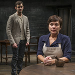 Jürgen Hooper (Isaac Newton) and Elizabeth Ledo (Catherine) in ISAAC'S EYE at Writers Theatre.  Photo by Michael Brosilow.