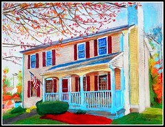 A Colored Pencil Drawing Of A House In Manchester, New Hampshire - Drawing Done by STEVEN CHATEAUNEUF (2014) - This Photo Of This Drawing Was Also Taken by STEVEN CHATEAUNEUF photo by snc145