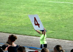 Kid runs around with sign at top of each inning