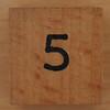 Wooden Cube Black Number 5