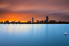 Stormy Sunrise, Extreme Exposure of Boston Skyline over Charles River and Harvard Bridge with Buoy - Cambridge MA USA photo by Greg DuBois Photography