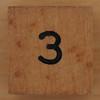 Wooden Cube Black Number 3