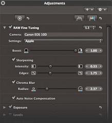 Aperture 1.1 adjustments palette