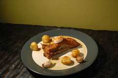 roasted pork belly with charcutiere sauce