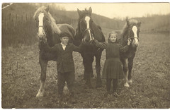 Real Photo Postcard: A Sister, A Brother, Three Horses [Reposted --- Has Love, Wants More] photo by mrwaterslide