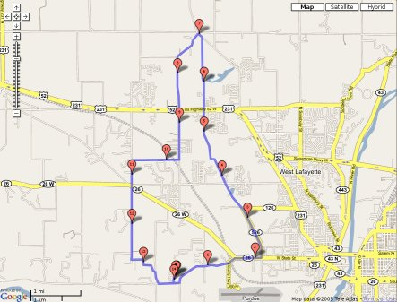 North Route on Gmaps Pedometer