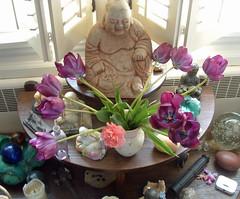 buddha with tulips
