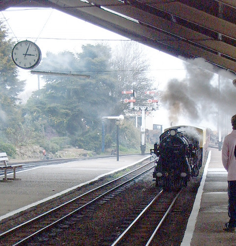 Miniature Steam Train Coming into New Romney