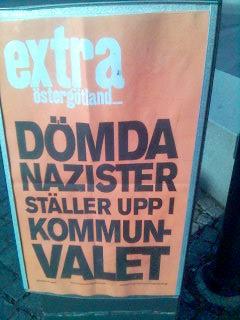 Löpsedel från Extra Östergötland 26 april 2006: Dömda nazister ställer upp i kommunvalet