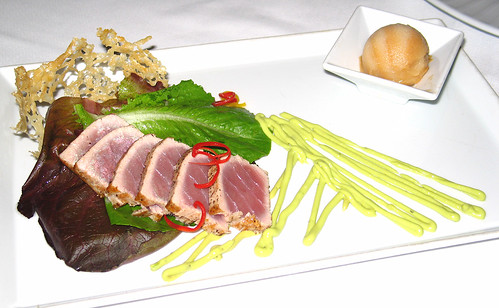 Seared Yellowfin Tuna with Avocado-Ranch Dressing, Tomato Sorbet, and Baby Romaine in a Parmesan Tuile