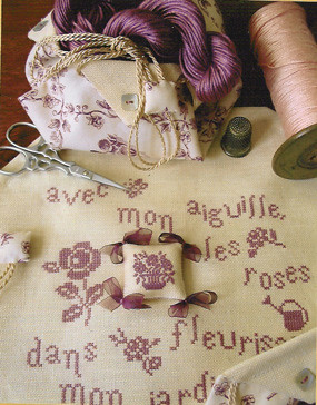 Au Fil des Reves - Bourse Roses et Toile de Jouy - Kit