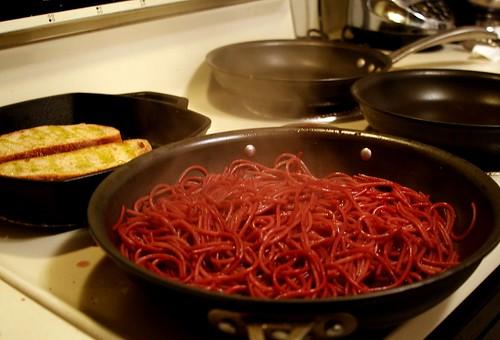 Red Wine Spaghetti Cooking Away