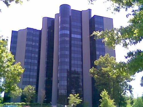 large, black, oddly-shaped building