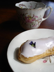 violet eclair and tea