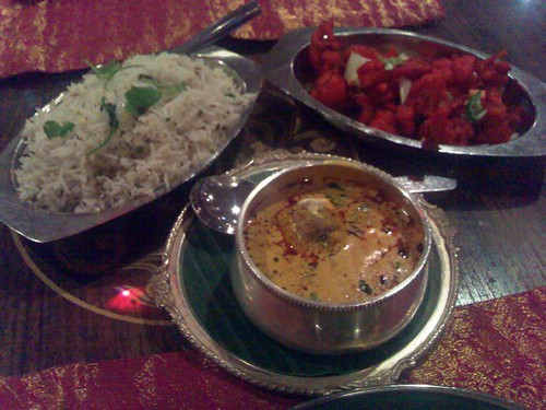 Clockwise from left: Jeera Pilau, Chilli Gobi, and Malai Kofta