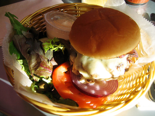 burger with swiss and onion