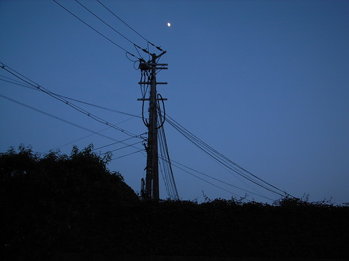 Telegraph pole, moon