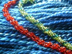 red & green spiral bracelets
