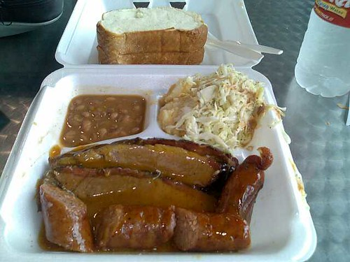The brisket and sausage platter