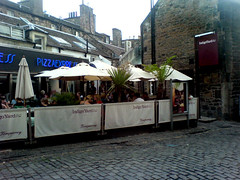 Exterior and beer garden of Indigo Yard, Edinburgh