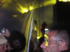 People climbing the rafters during Primal Scream at T in the Park 2006