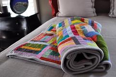 Improvised block quilt, Kaffe Fassett shot cottons photo by Erin!