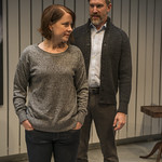 Kate Fry (Tess) and Nathan Hosner (Jon) in MARJORIE PRIME at Writers Theatre. Photo by Michael Brosilow.