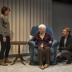 Kate Fry (Tess), Mary Ann Thebus (Marjorie) and Nathan Hosner (Jon) in MARJORIE PRIME at Writers Theatre. Photo by Michael Brosilow.