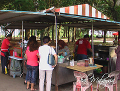 Customer queueing at the stall