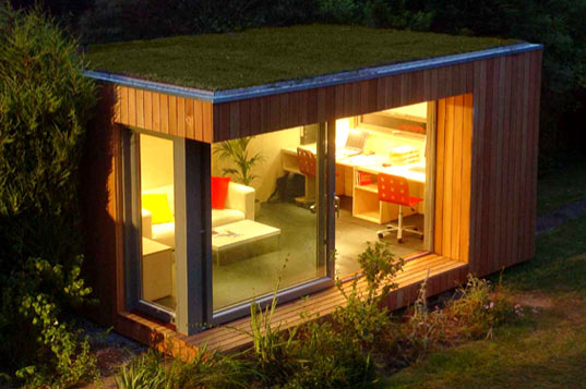 EcoSpace Prefab Garden Studio, Eco-friendly mini prefab, Green Prefab, Modern Green Prefan, Green Roof, Backyard Prefab