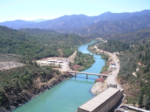 Shasta Dam, valley view from top of dam