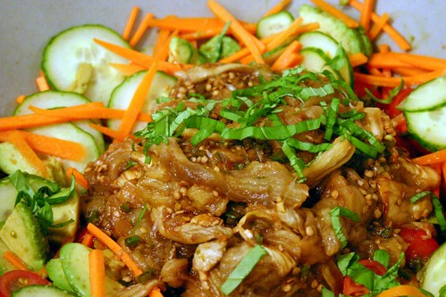thai vegetable and smoky eggplant salad