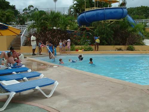 water slide pool