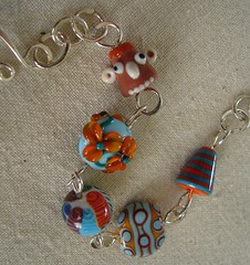 'Oranges' Chain linked Lampwork Bracelet