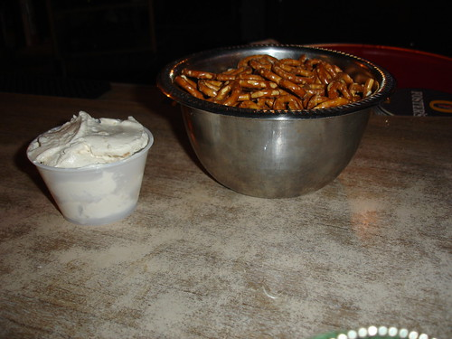pretzles and onion dip...mmmmgood