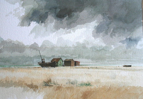 Boat and sheds Dungeness (Watercolour)
