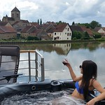 Relax in the hot tub as the French countryside floats by