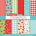"""Strawberry digital paper: """"STRAWBERRIES"""" digital paper pack with red, green and blue strawberry backgrounds and textures, gingham, polkadots"""