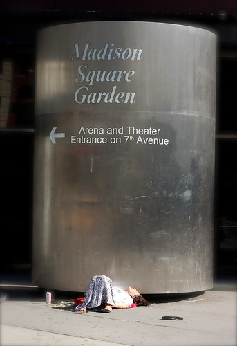 Asleep at the MSG Entrance