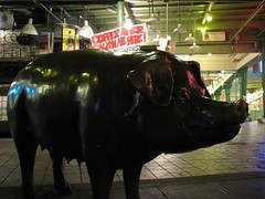 Bronze pig at night