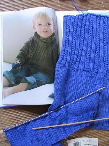 Sweater with Ribbed Yoke