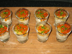 Cauliflower puree with dashi jelly and ikura roe