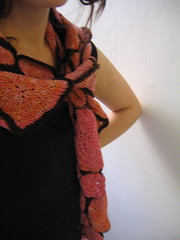 wearing crochet scarf - side